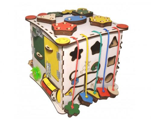 Бизиборд IWOODPLAY деревянный куб без электрики размер 25х25х25 см
