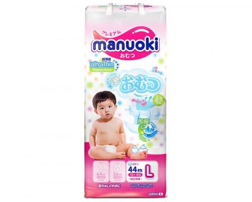 Подгузники Manuoki L 9-14кг, 44шт/уп (Япония)