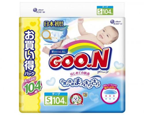 Подгузники GooN S 4-8кг, 104шт (JAPAN)